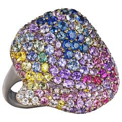 Naomi Sarna Multicolored Sapphire Diamond Gold Spring Petal Ring