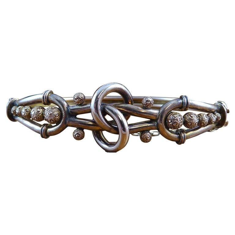 Antique Victorian Knot Bangle, Rose Gold, circa 1890s