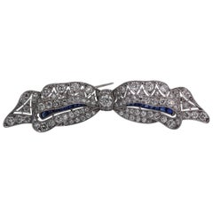 Platinum Lacey Bow Brooch with Diamonds and Sapphires