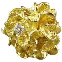 Vintage Modernist Ring, Diamond Set, Yellow Gold, London 1967