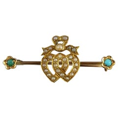 Victorian Antique Pearl Brooch, Intertwined Hearts, Turquoise