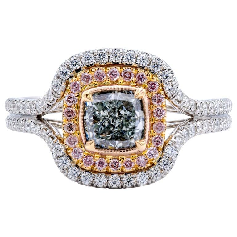 David Rosenberg 1.01 Carat Cushion GIA Natural Fancy Light Green Diamond Ring