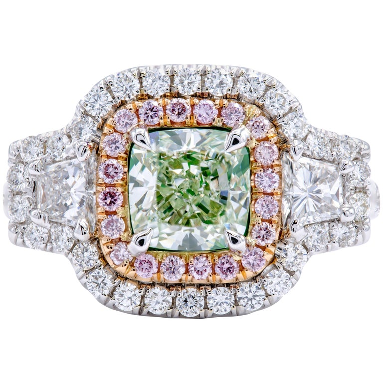 David Rosenberg 1.59 Carat Cushion Natural Fancy Light Green GIA Diamond Ring