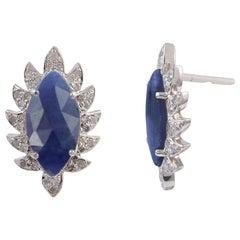 Meghna Jewels Claw Stud Earrings Blue Sapphire and Diamonds