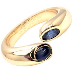 Cartier Sapphire Ellipse Deux Tetes Croisees Yellow Gold Bypass Ring