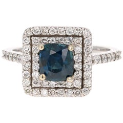 GIA Certified 2.29 Carat Sapphire Diamond Double Halo White Gold Engagement Ring