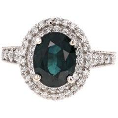 4.80 Carat Sapphire Diamond Double Halo White Gold Engagement Ring
