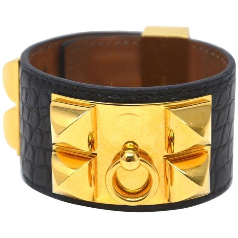 Hermès Black Crocodile Collier De Chien Cdc Ghw Bracelet