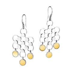 John Hardy Dot Sterling Silver and 18 Karat Gold Cascade Earrings, EZ34200