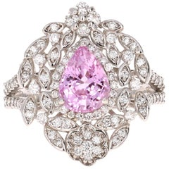 2.75 Carat Pink Sapphire Diamond White Gold Cocktail Ring