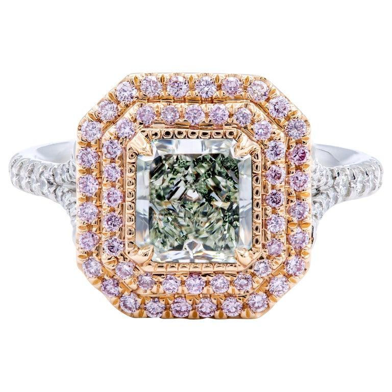 David Rosenberg 1.24 Ct Radiant Fancy Light Green Yellow GIA Halo Diamond Ring