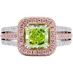 David Rosenberg 1.77 Carat Radiant Yellow, Green GIA Diamond Engagement Ring