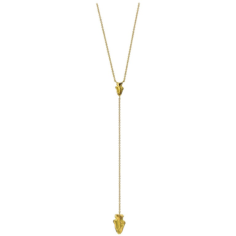 Wendy Brandes Arrowhead Lariat Yellow Gold Y-Necklace