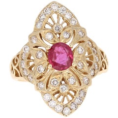 1.57 Carat Ruby Diamond Art Deco Yellow Gold Cocktail Ring
