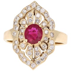 1.64 Carat Ruby Diamond Art Deco Yellow Gold Cocktail Ring