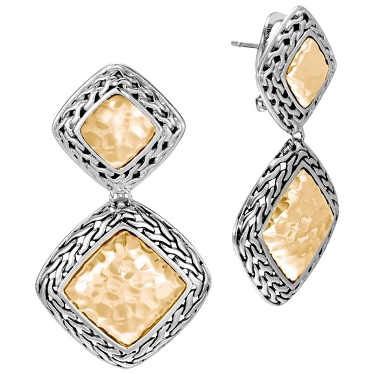 John Hardy Women's Classic Chain Hammered Gold and Silver Heritage Drop Earrings