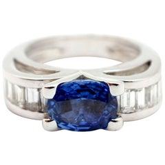 18 Karat White Gold, 2.50 Carat Sapphire and 0.72 Carat Diamond Ring
