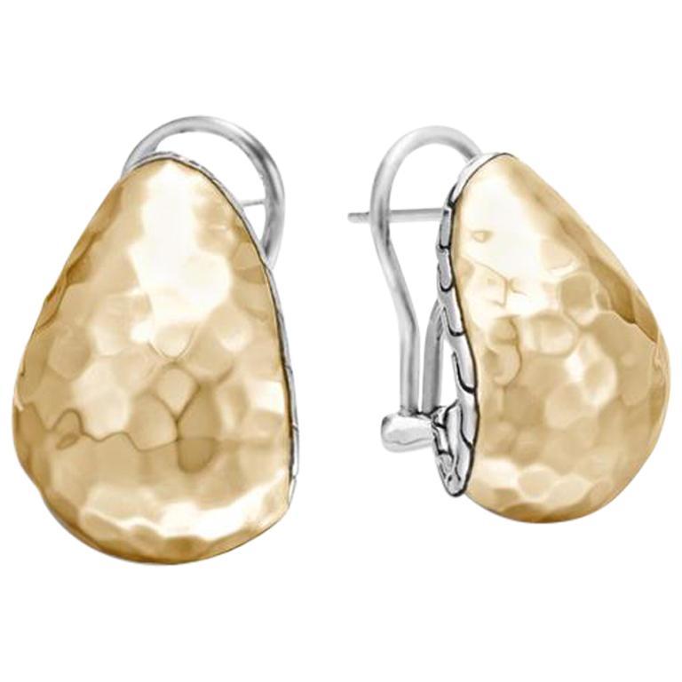 John Hardy Women's Classic Chain Hammered Gold & Silver Buddha Belly Earrings BG