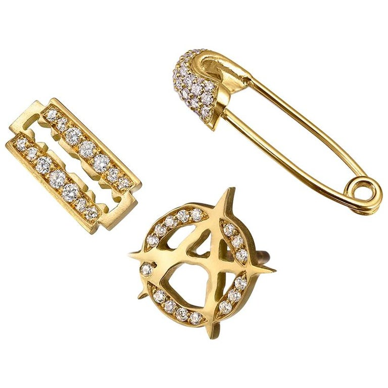 Wendy Brandes Ear Game 3-pc Safety Pin Razor Anarchy Diamond Gold Stud Earrings For Sale