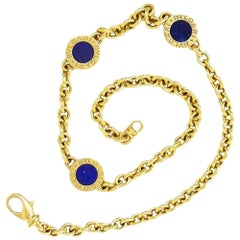 Bvlgari 18 Karat Yellow Gold Lapis Double-Sided Circular Necklace Bulgari