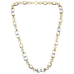 Tiffany & Co. 14 Karat Rose and White Gold Moonstone Sapphire Diamond Necklace