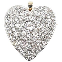 Large Edwardian Diamond Heart Brooch Pendant