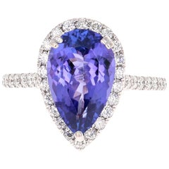 4.24 Carat Pear Cut Tanzanite Diamond 14 Karat White Gold Ring