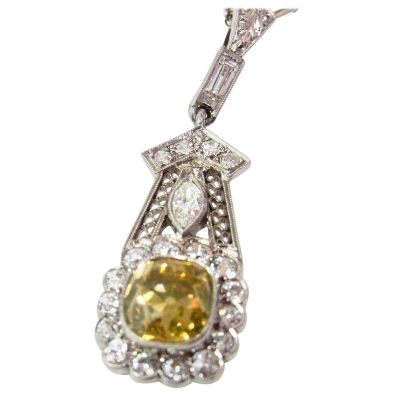 Art Deco 2.30 Carat Yellow and White Diamond Pendant Necklace