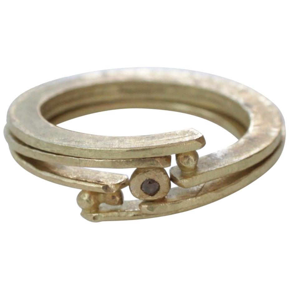 Diamond 18 Karat Gold Bridal Wedding Band Ring, Stack #21