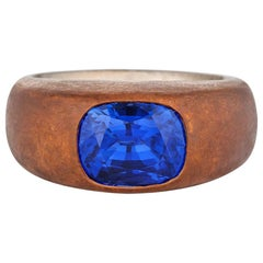 Hemmerle Vintage Untreated Cushion Sapphire Gold and Copper Gypsy Ring