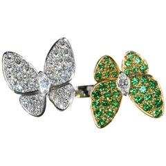 Van Cleef & Arpels Two Butterfly Between the Finger Ring, Tsavorite, Diamond