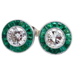 Diamond Emerald Platinum Studs