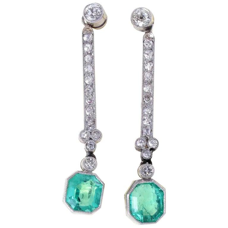 Emerald Diamond Platinum Drop Earrings