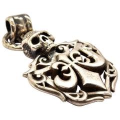 Affliction Sterling Silver Skull Fleur de Lis Pendant
