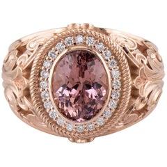 Dianna Rae Jewelry Rose Gold 2.22 Carat Lotus Garnet Diamond Halo Cocktail Ring