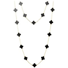 Vintage Alhambra Long Necklace, 20 Motifs Yellow Gold, Onyx