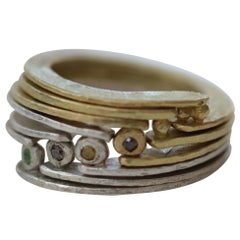Stack Band Fashion Ring 18 Karat Gold, Sterling Silver by AB Jewelry NYC #13