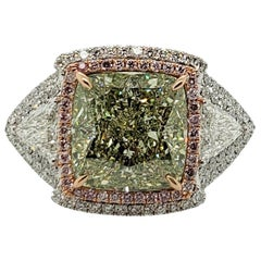 Scarselli 6.58 Carat Fancy Green Yellow Cushion VS2 in Platinum Mount-GIA