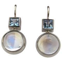 8.28 Carat Moonstone with .06 Carat Aquamarine 18 Karat White Gold Earrings