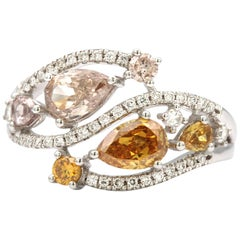 1.01 Carat Pear Shaped Yellow and Brown Diamond Ring in 18 Karat White Gold