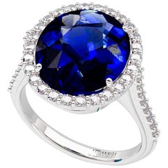 Emilio Jewelry 9.00 Carat Certified Ceylon Sapphire Diamond Ring