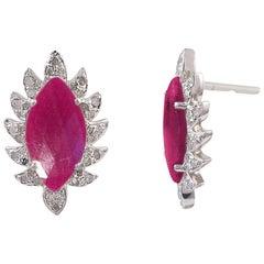 Meghna Jewels Claw Stud Earrings Ruby and Diamonds