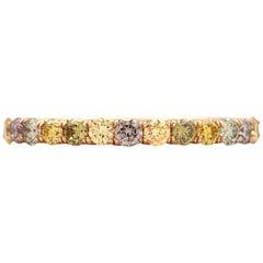0.59 Carat Round Multicolored Diamonds in 18 Karat Rose Gold