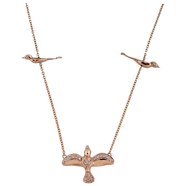 14 Karat Gold and Pave Diamond Three Birds Necklace