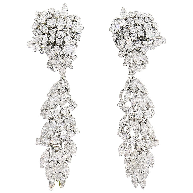 Diamond White Gold Earrings Interchangeable