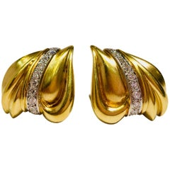 Custom Artistic Satin Finish 18 Karat Gold Abstract 1.5 Carat Diamonds Earrings