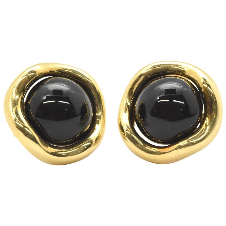 18 Karat Yellow Gold and Onyx Tiffany & Co. Earrings