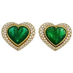 SeidenGang Heart Emerald Diamond Yellow Gold Earrings