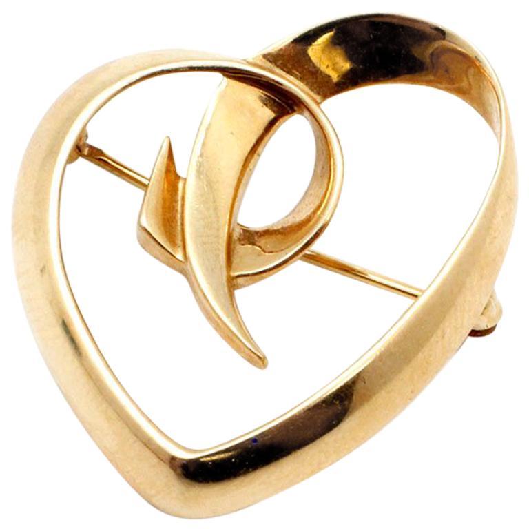 18 Karat Yellow Gold Tiffany & Co. Paloma Picasso Heart Pin
