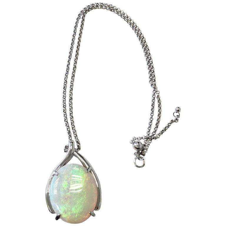 Opal Oval Pendant Necklace in Platinum